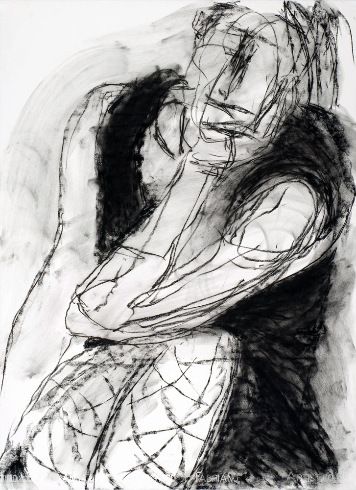 Daydreaming 2, charcoal drawing by Carol McGraw