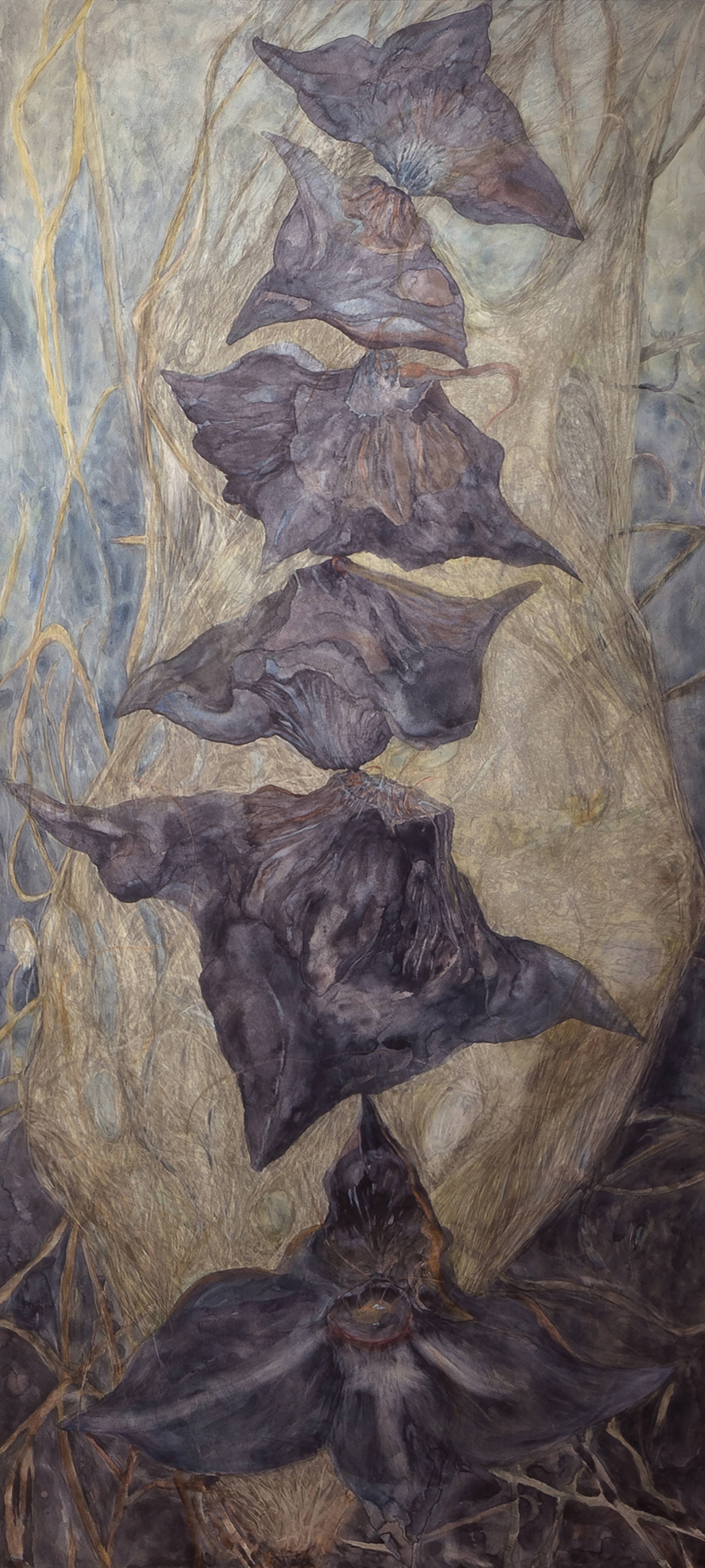 "Unbalanced Nature, Pod, 2014, Watercolor, archival pigment print on clayboard, 66"" x 30"""