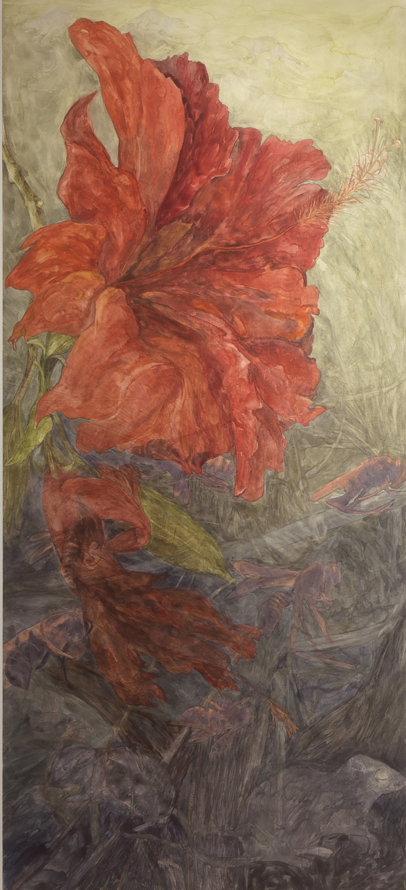 """Unbalanced Nature, Bloom, 2013, Watercolor, archival pigment print on clayboard, 66"""" x 30"""","""