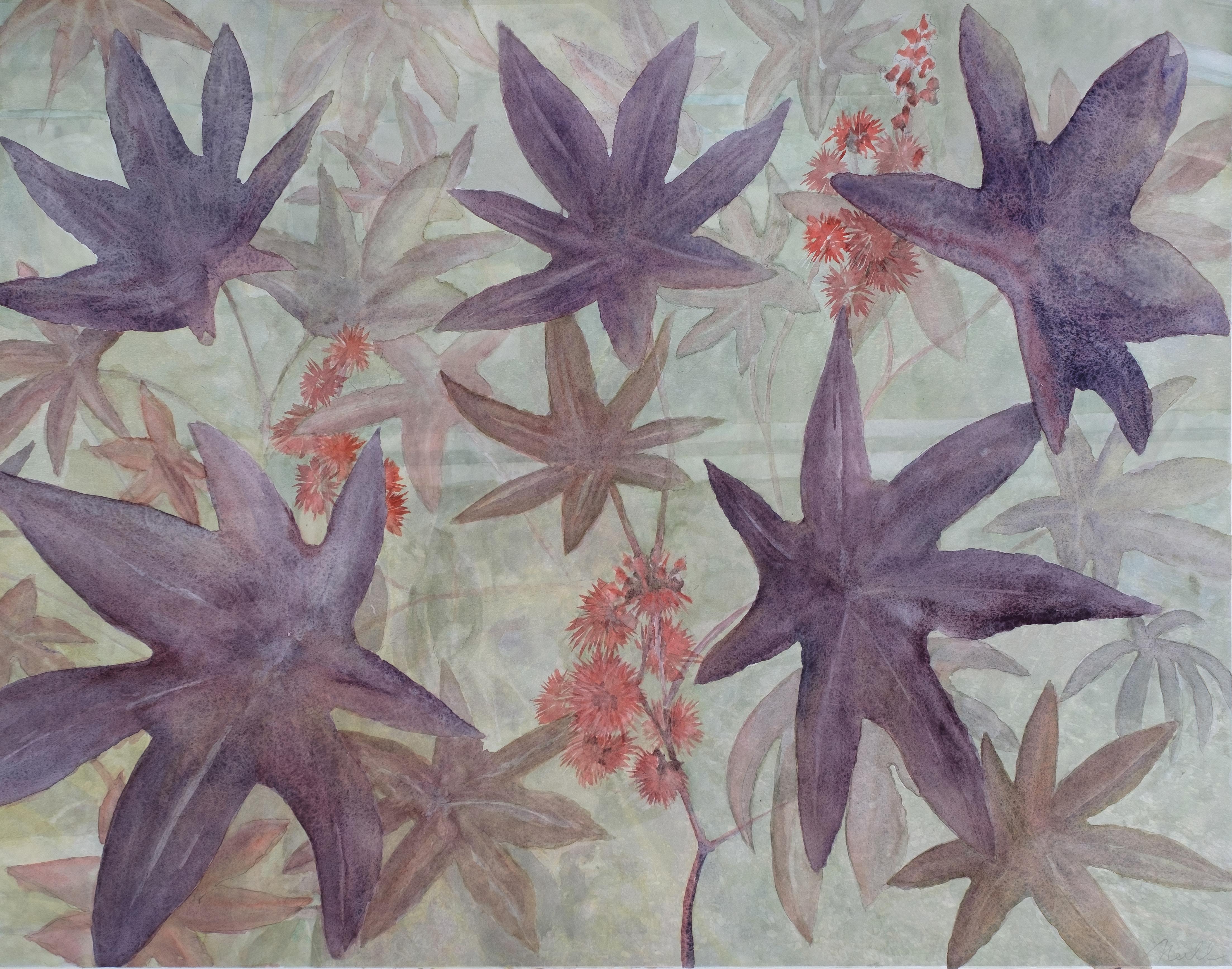 """Castor Bean, 2020, Watercolor, Archival pigment print, 24"""" x 31"""""""