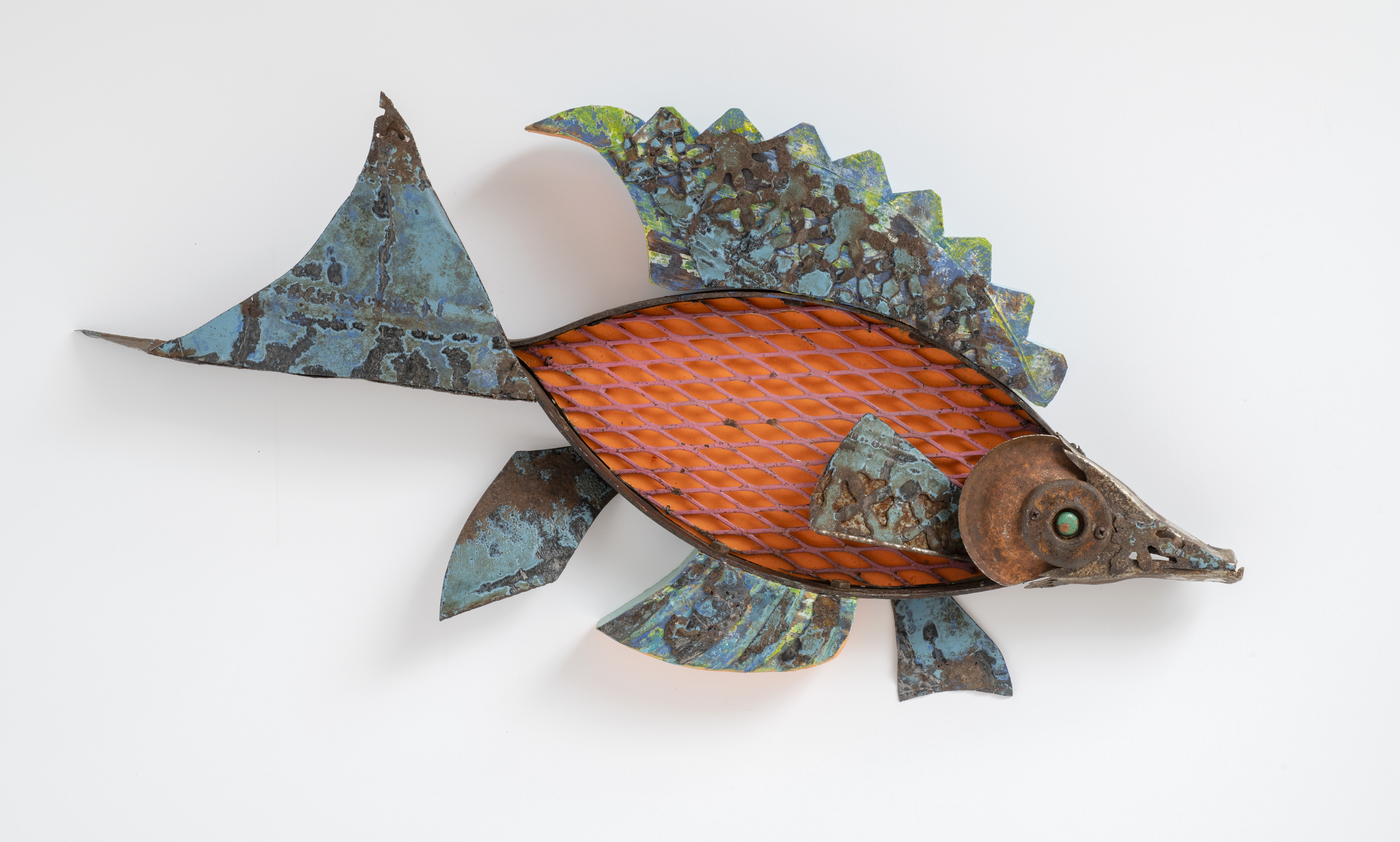 wall sculpture, found objects, mixed media, fish, ocean, sea, alcohol