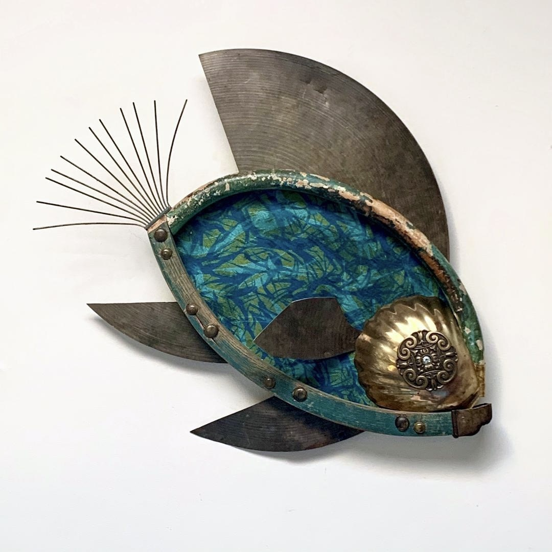 found objects, skeleton, wall assemblage, fish, ocean, repurposed