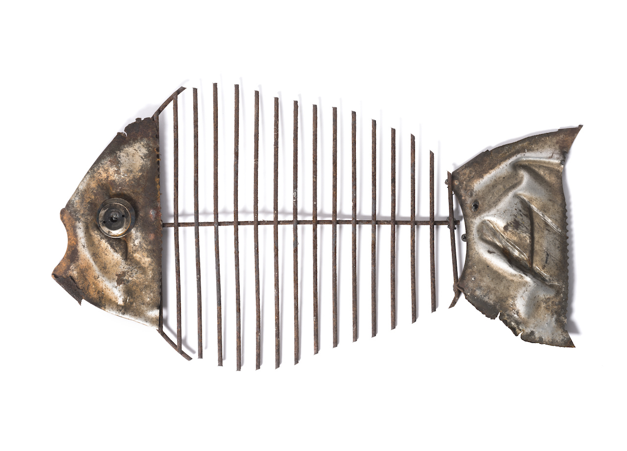 found objects, wall sculpture, fish, environmental, mixed media, repurposedn