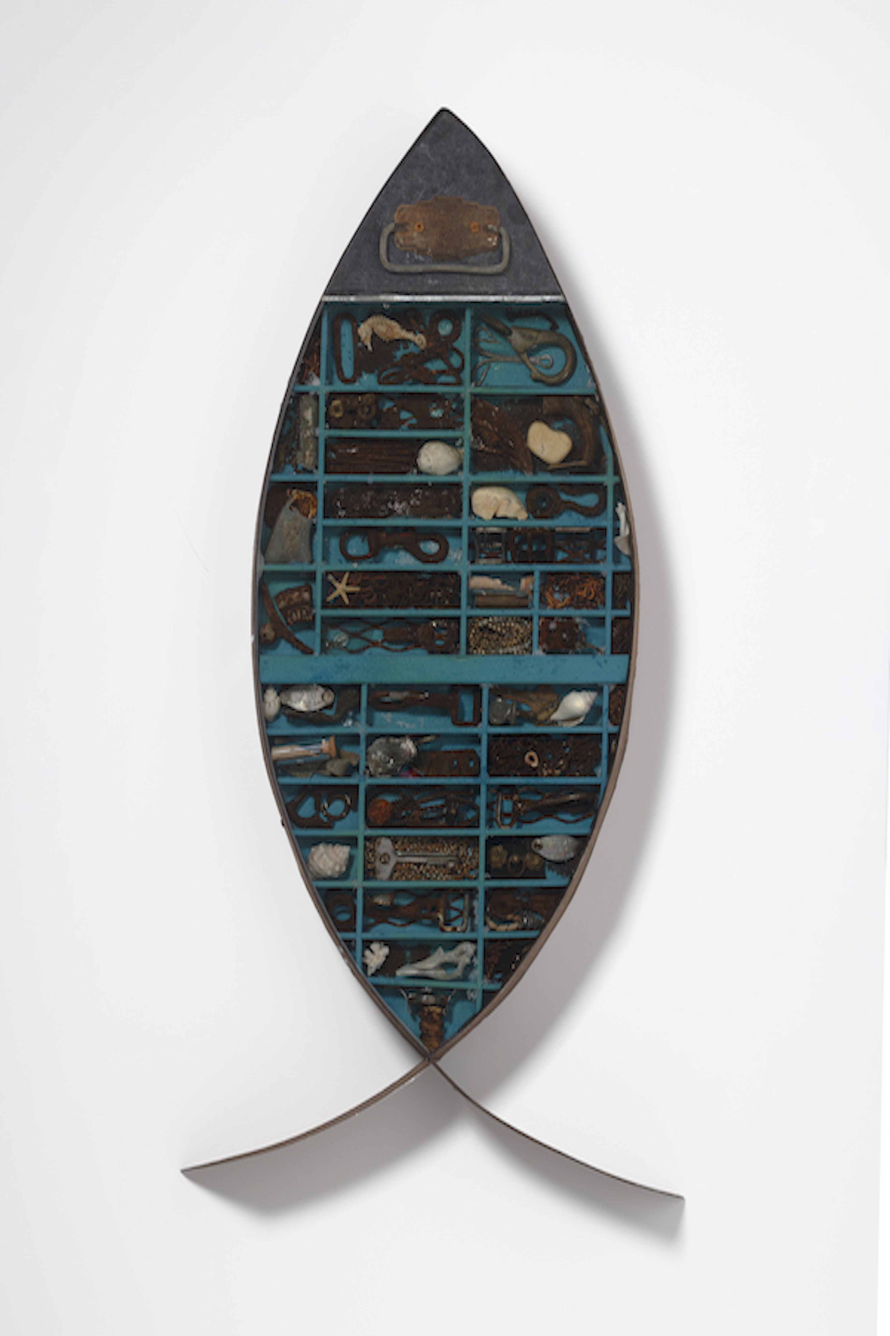 found objects, wall sculpture, fish, environmental, mixed media, repurposednd