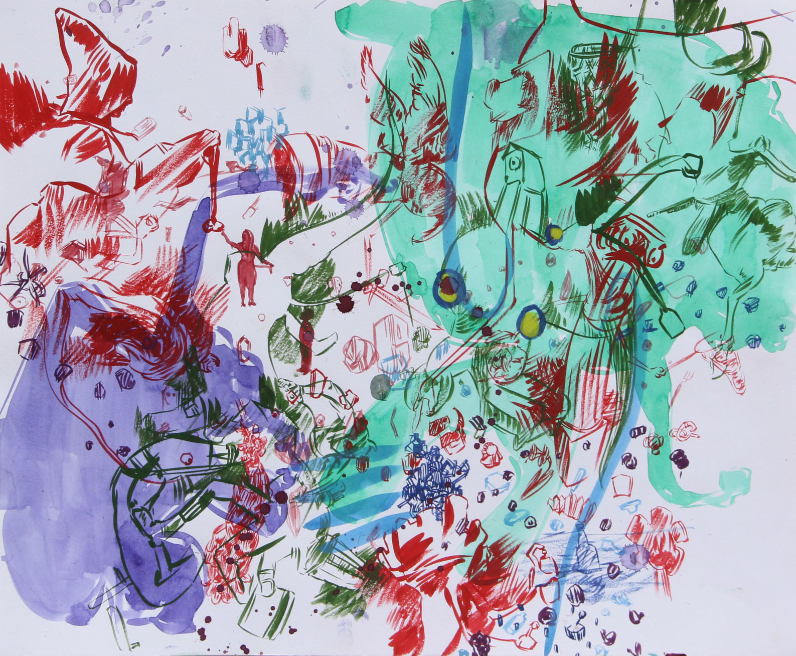 """Purple and Green, gouache on paper, 24"""" X 18"""""""