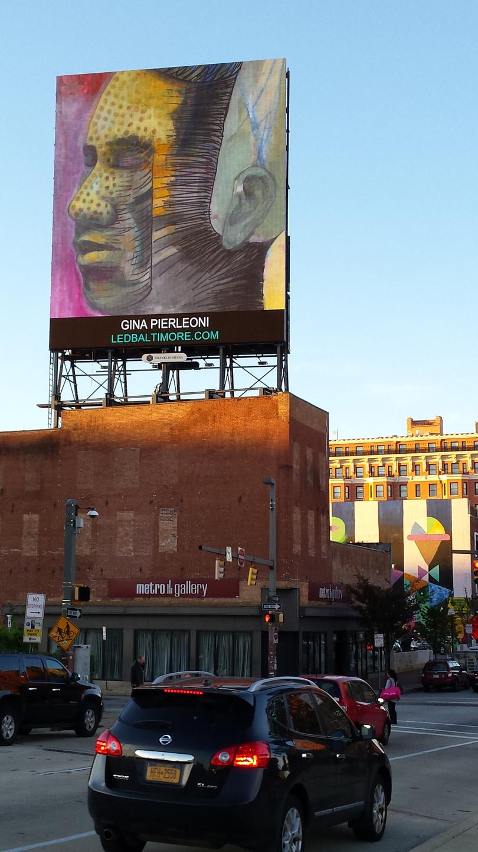 portraits, mixed media, LED Board, Baltimore, public art, street art, Gina Pierleoni