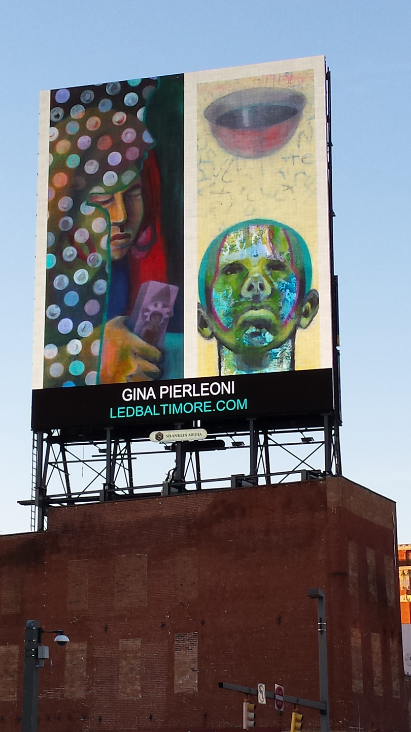 portraits, mixed media, LED Board, Baltimore, painting, public art, street art, Gina Pierleoni