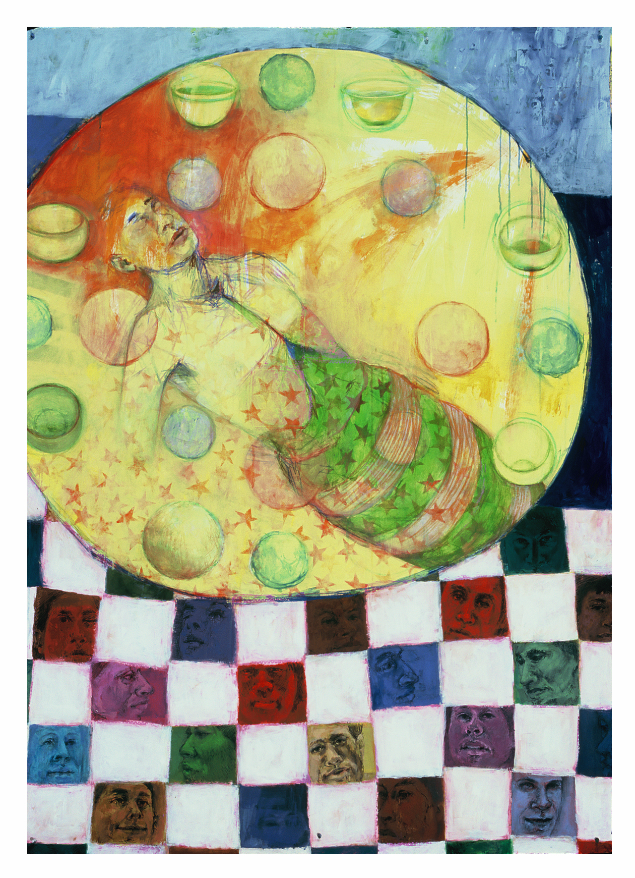 portraits, quilt, painting, drawing, cancer, spheres, bowls, healing, floating