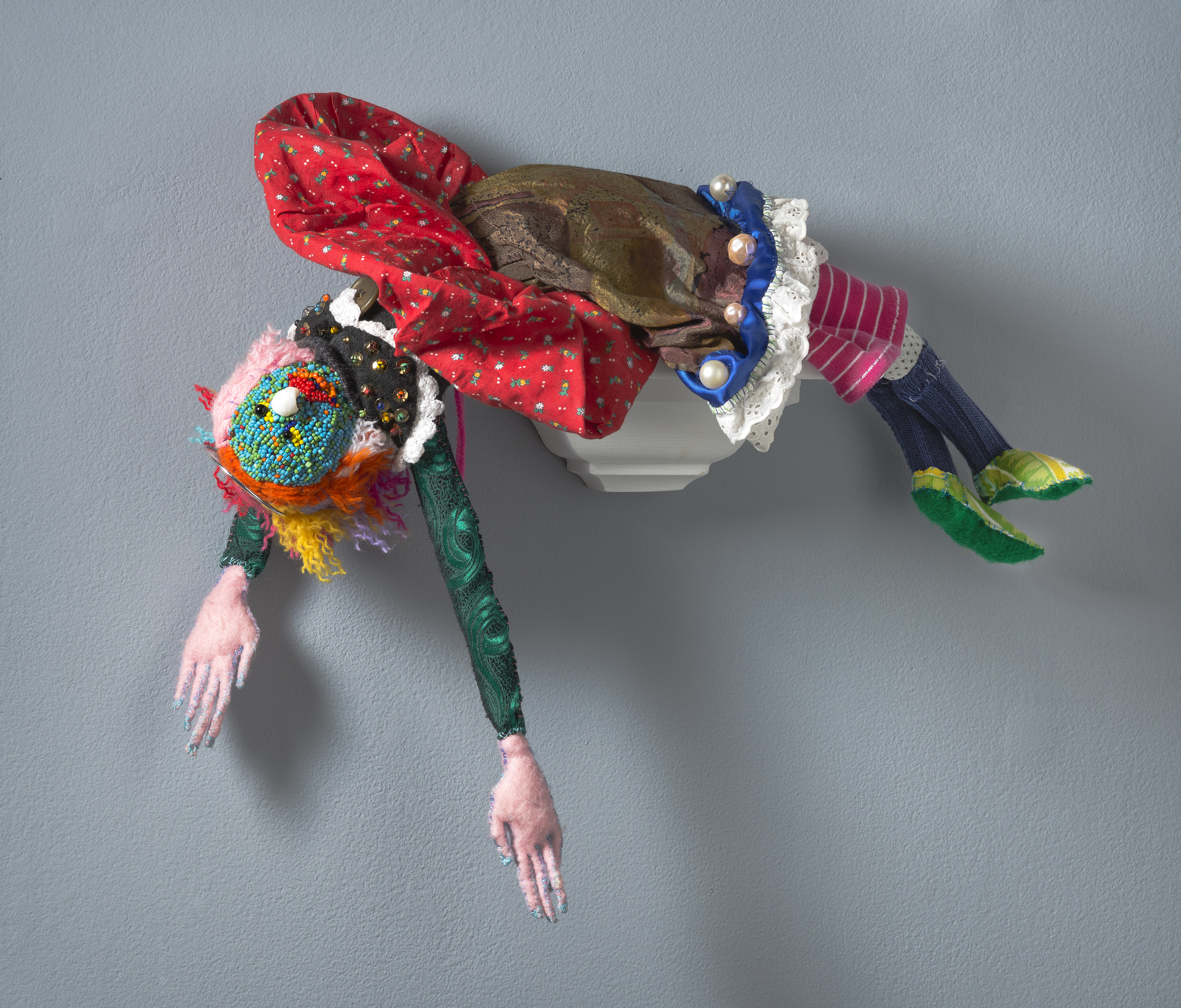 sewn figure, recycled, re-purposed, doll, puppet, sewing, textiles