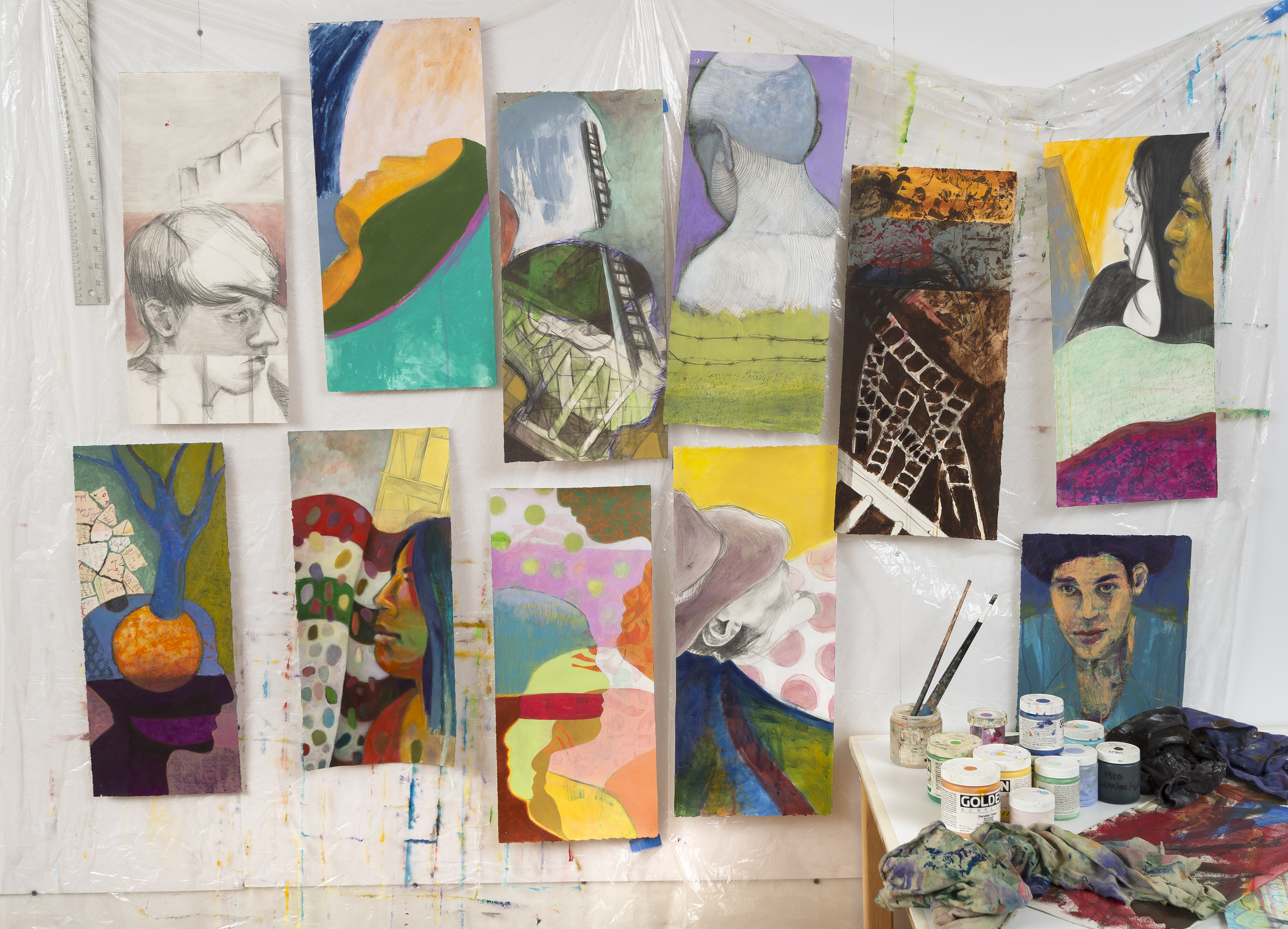 portrait, installation, series, 26 years, voices, mixed media, drawing, painting, Creative Alliance,