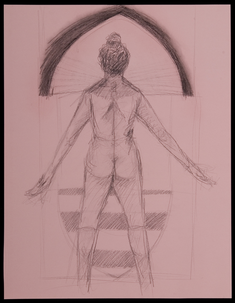 drawing, toned paper, human arrow, woman, power