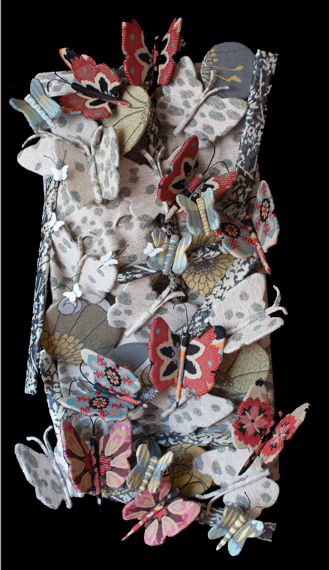 butterflies,visual art, mixed media, textiles, fabric, 3D,  contemporary, abstract