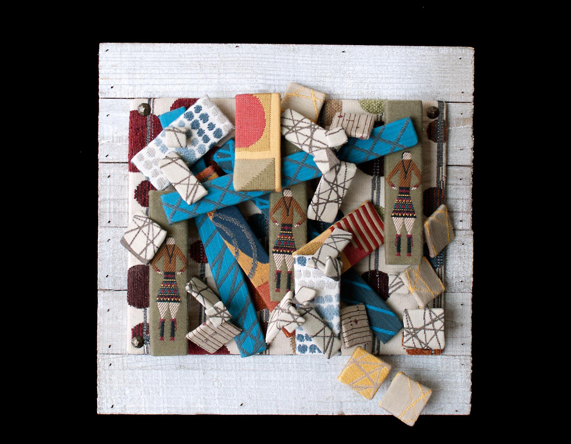 visual art, mixed media, textiles, fabric, 3D,  contemporary, abstract