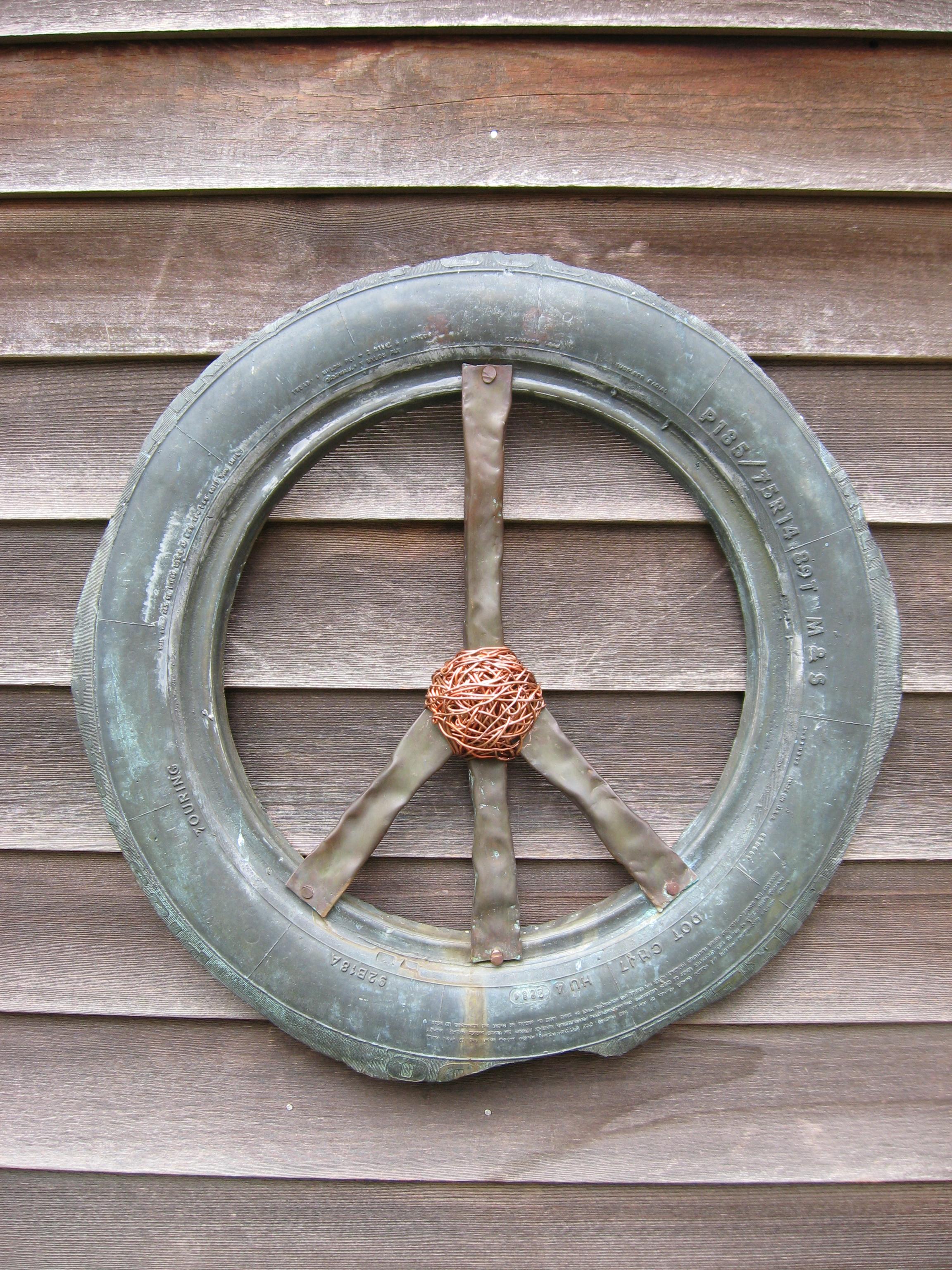 peace sign, bronze, environmental, social, humanitarian, political