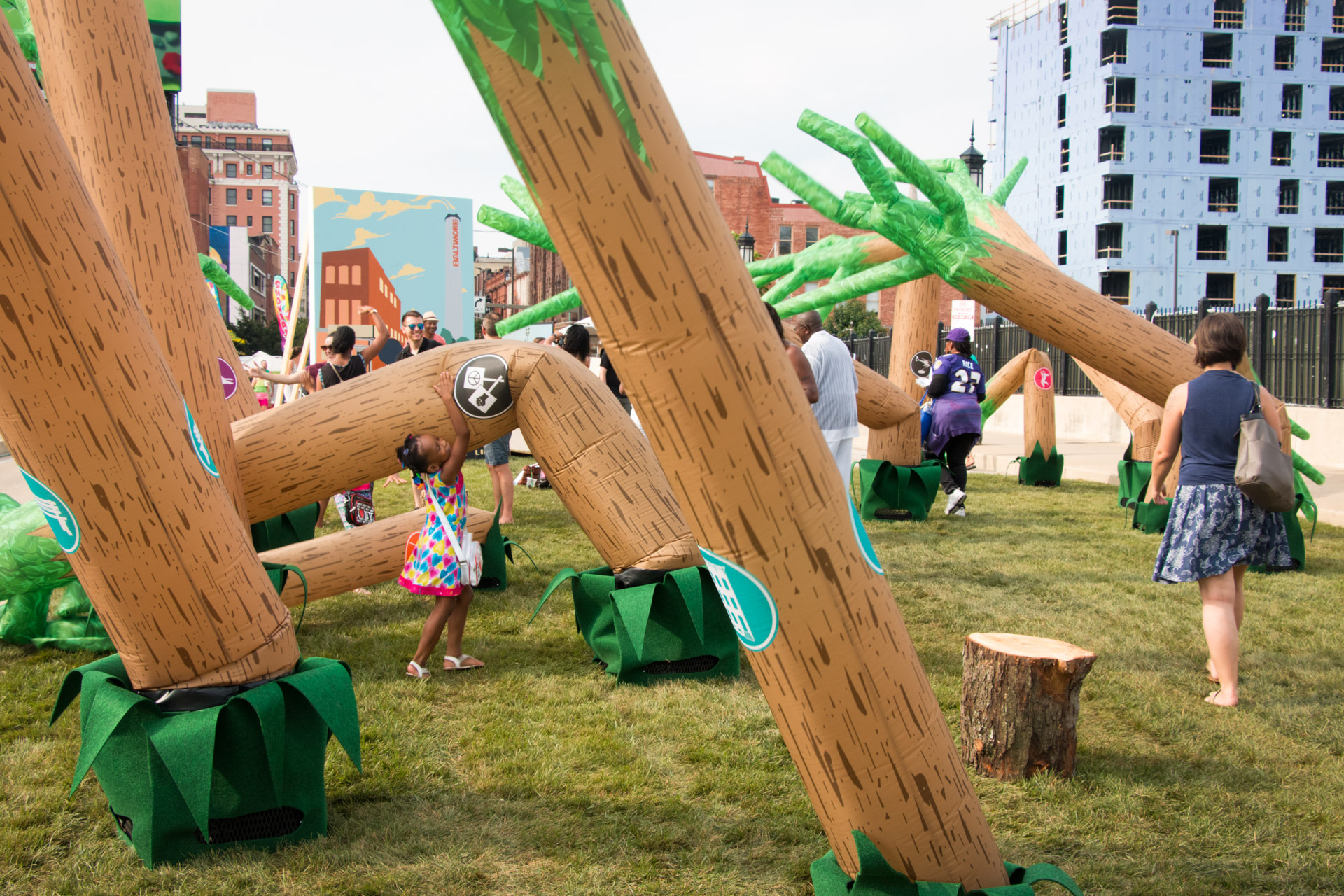 Dancing Forest - kid tipping tree