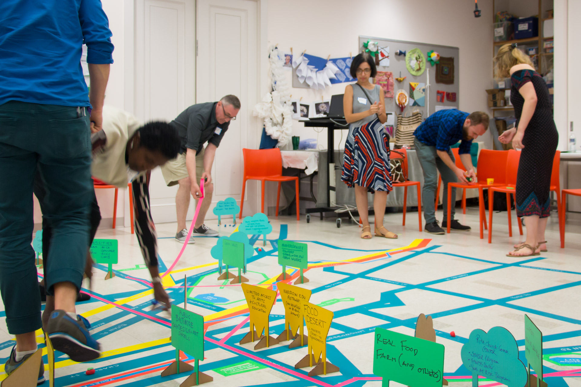 Visioning Home Mapping - participants laying tape