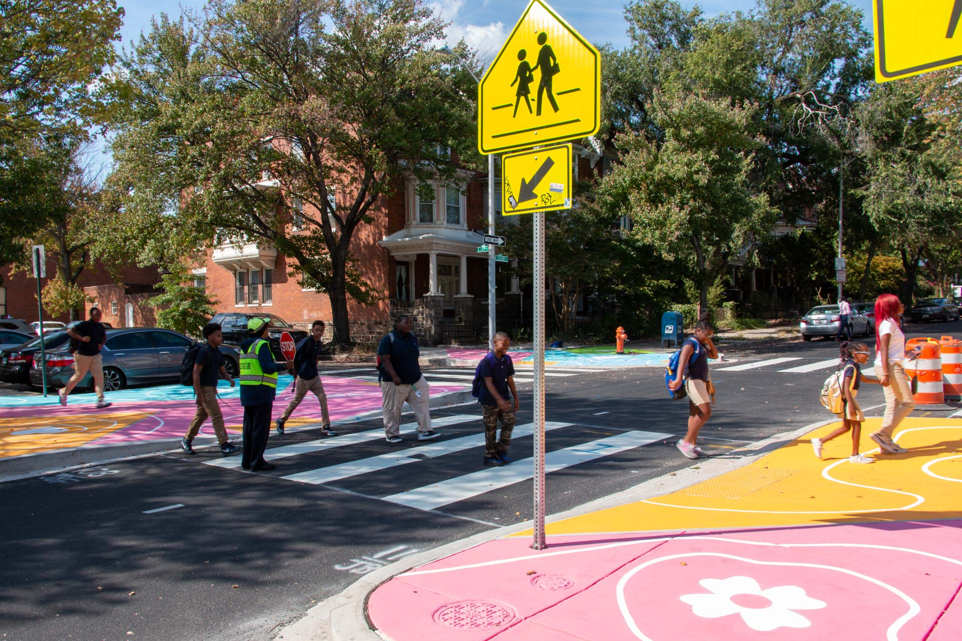 Reverberations Crosswalk 26th Calvert - students crossing