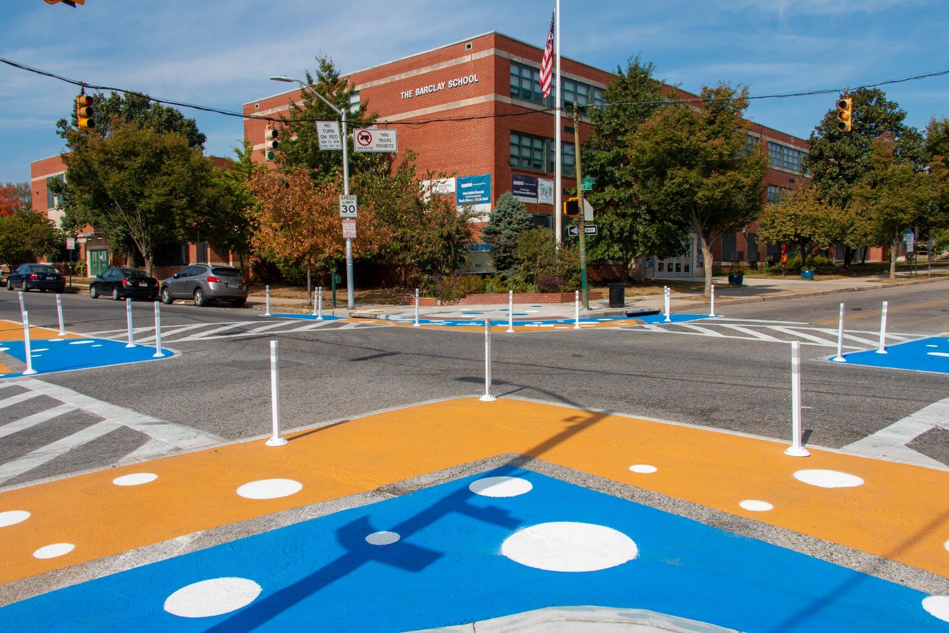 Barclay STEM Crosswalks - facing school