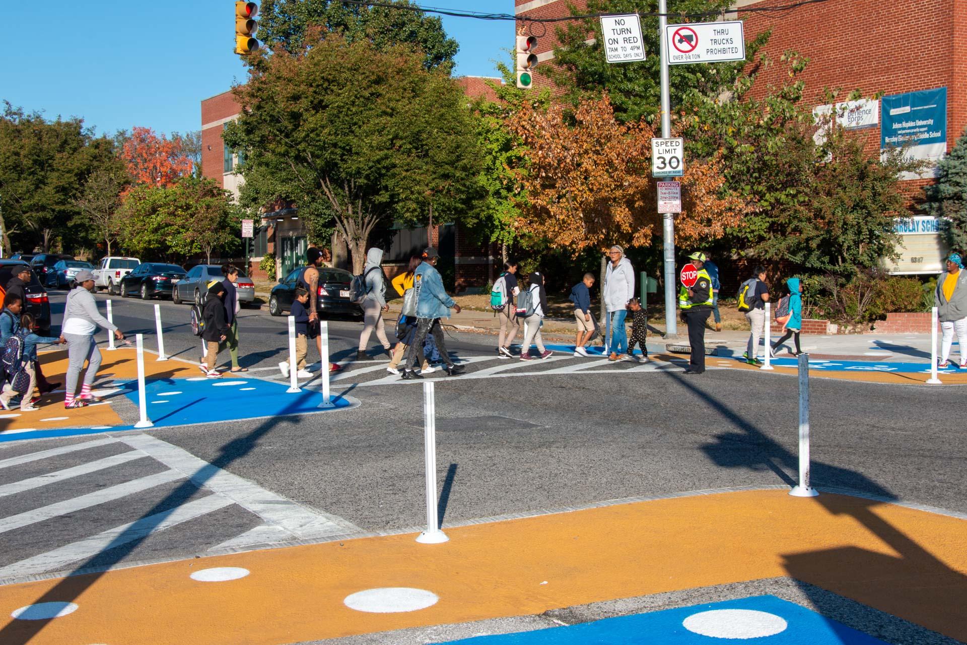 Barclay STEM Crosswalks - students crossing