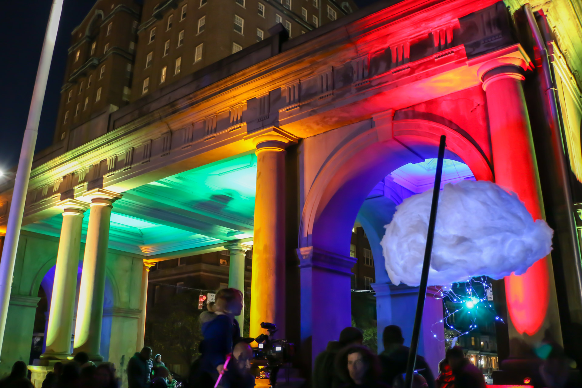 Arches & Access - Druid Hill Park Gate light art and crowd