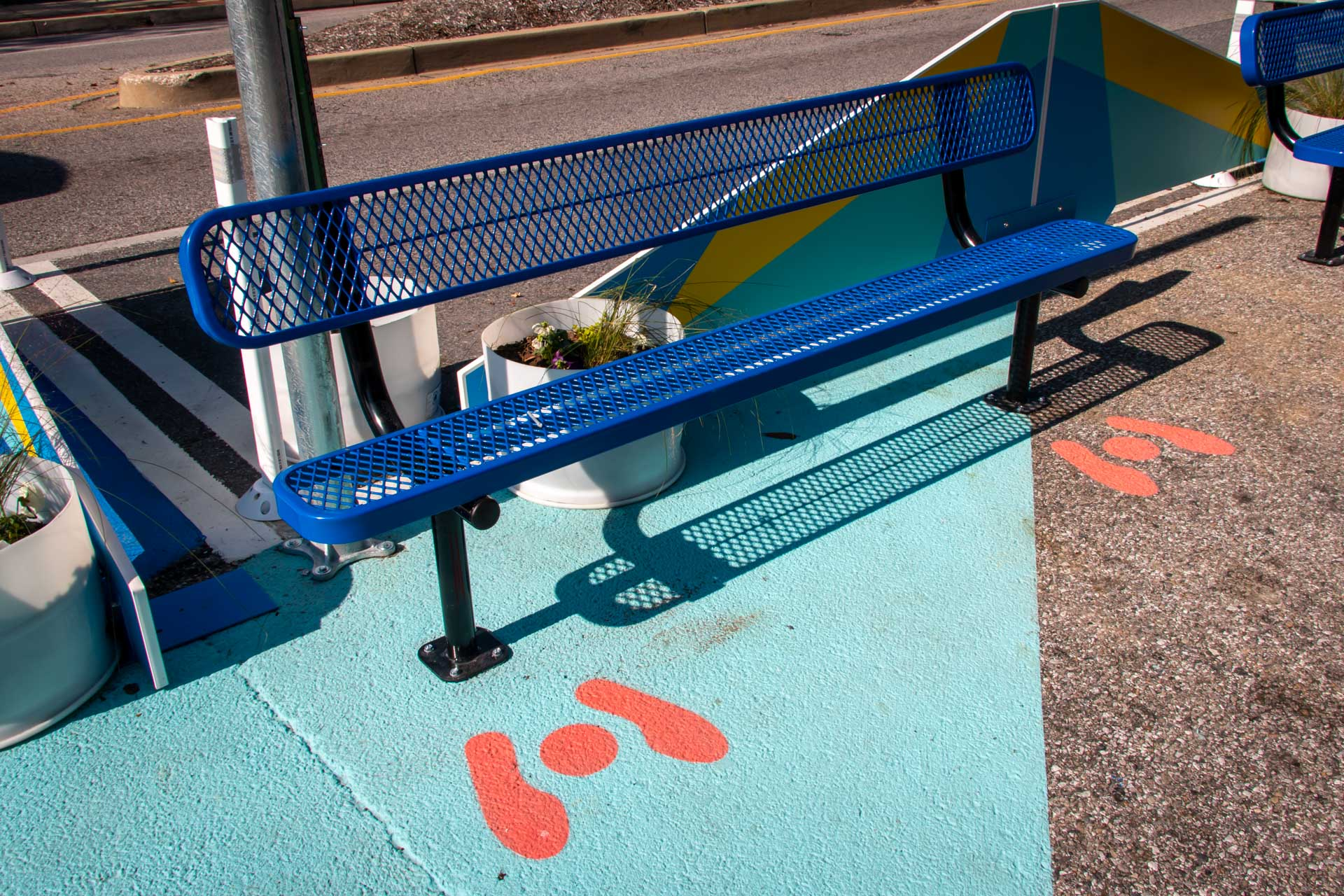 Design for Distancing Curbside Commons physical distancing bench
