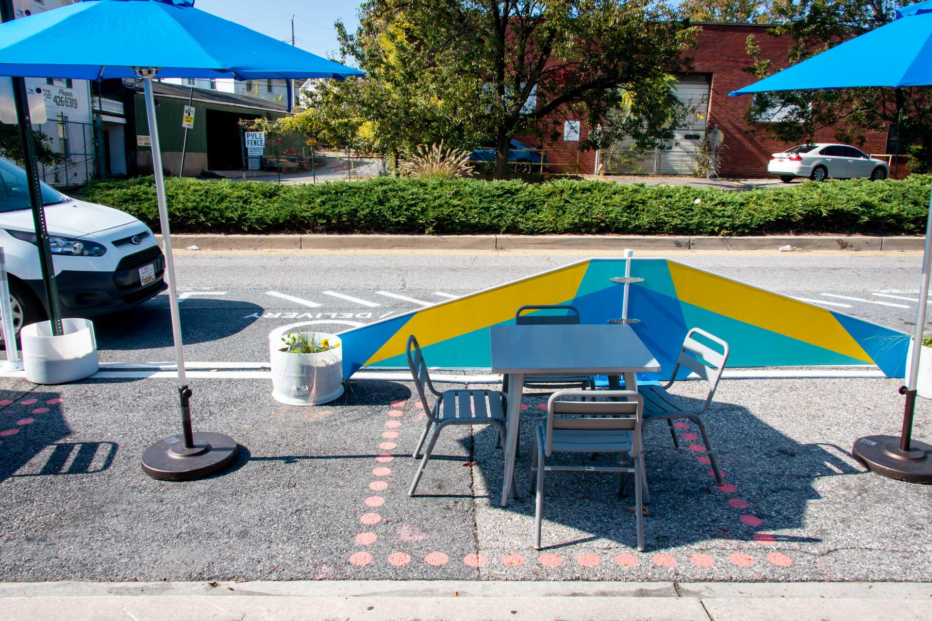 Design for Distancing Curbside Commons outdoor seating