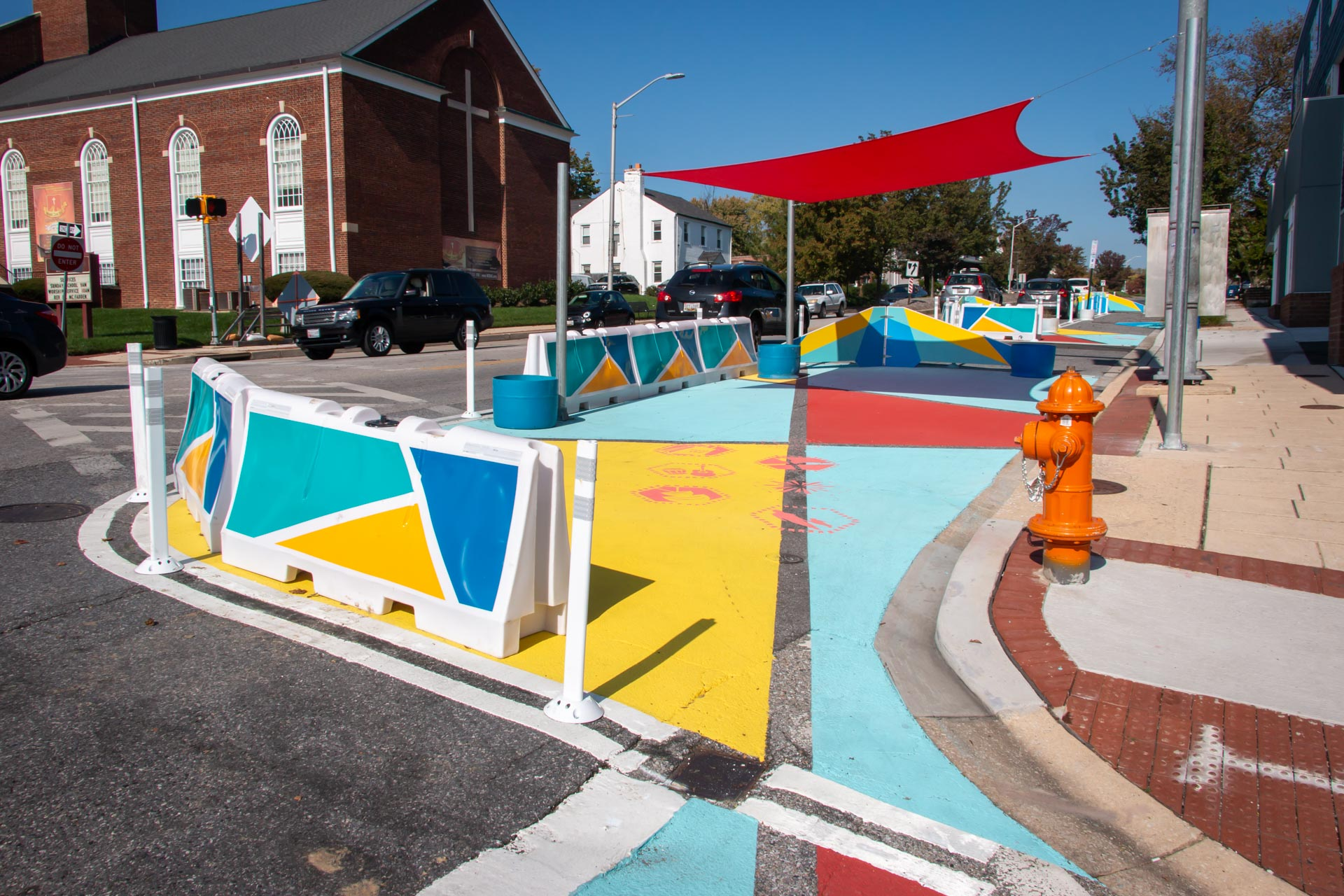 Design for Distancing Curbside Commons 4800 Harford Rd outdoor event space