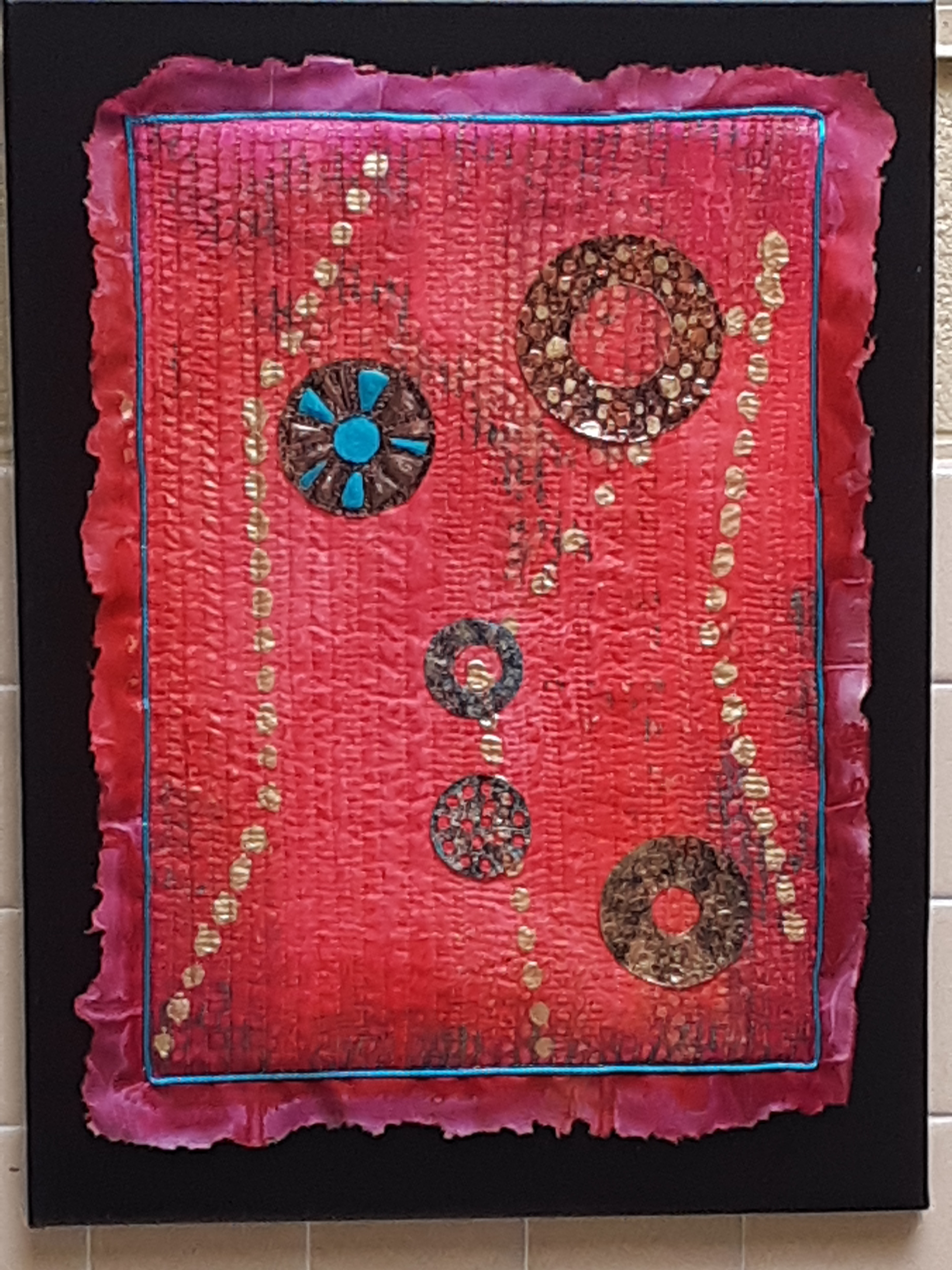 art quilt, silk, hand painted, metal work, circles