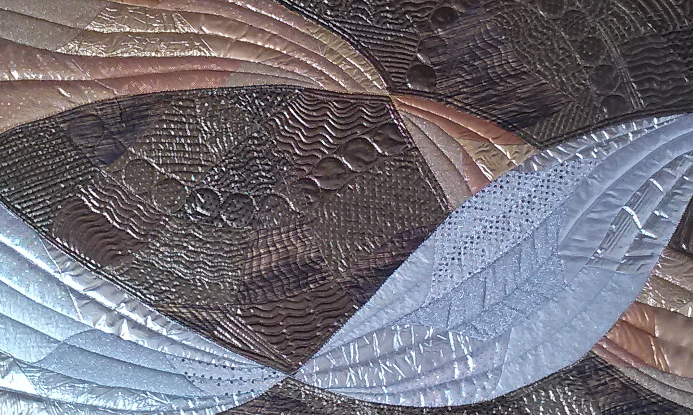 art quilt, quilt, fabric, gold, silver, twists