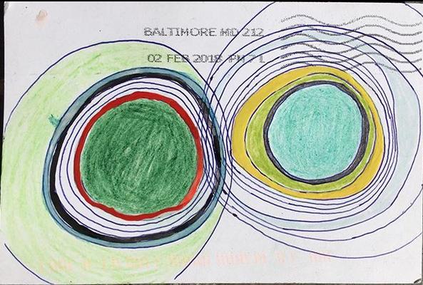 mail art, post mark, postage, pencil, drawing, watercolor, painting, collaboration, Baltimore, Los Angeles, Paul Cronan, Dominique Zeltzman