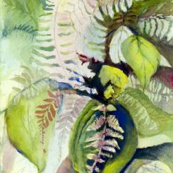 watercolor painting of a fern in shades of green