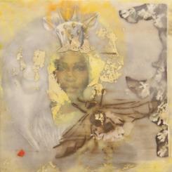 portrait,queen,bee,encaustic