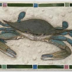 Blue Crab relief sculpture in concrete, 13 x 25 x 1.75