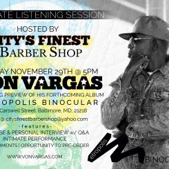 Von Vargas Listening Session Promo Flyer