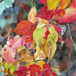 Fall Cascade II, watercolor of autumn foliage by Elizabeth Burin