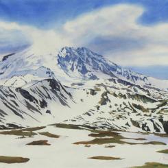 Watercolor landscape of Mt. Rainier, Washington, under partial snow, by Elizabeth Burin