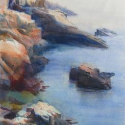 Rocky Coast in Maine, watercolor painting of rocky shoreline in Maine, New England, by Elizabeth Burin, sea, rocks