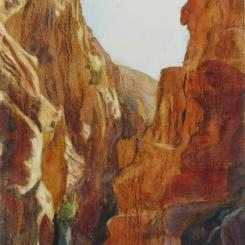 The Siq (Petra), watercolor painting of the Siq, Petra, Jordan, by Elizabeth Burin, canyon, weathered limestone, desert, ancient site