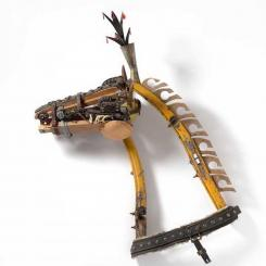 found objects, skeleton, wall assemblage, horse, mixed media