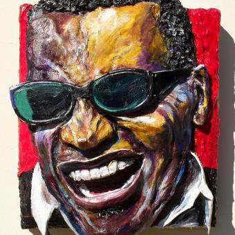 Built-Out Portrait of Ray Charles by Artist Brett Stuart Wilson
