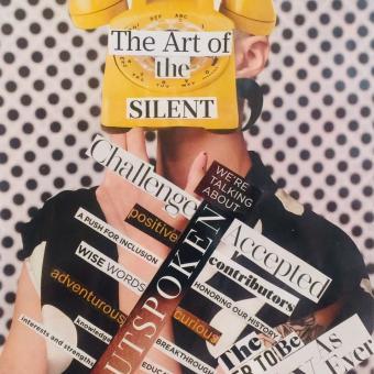 The Un-silenced voice, rotary phone, outspoken, black, white, yellow