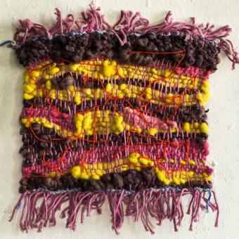 weaving, tapestry, textile, fiber, wool, handspun, spinning, natural dye, recycle