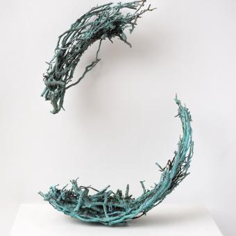 Negotiation, cast bronze from brambles pulled from a large pipe, patina, 2 ft x 15 in x 12 in, 2016