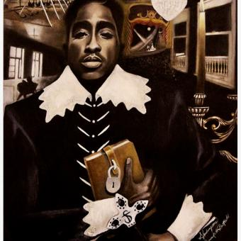 "Shakurspeare By Darrin Keith Bastfield, Oil on Canvas work, 30"" x 40"""