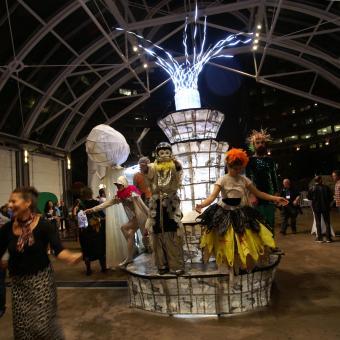 performance art, sculpture, climate change pageant, Reston Va.