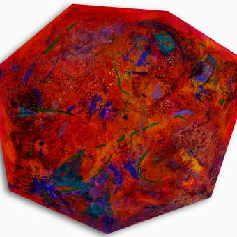 Irregular hectagonal stretched canvas painted with layers of acrylic paint and medium. Burnt orange and crimson background with interpretation of cellular division in bright green, blue, teal, purple, and yellow.