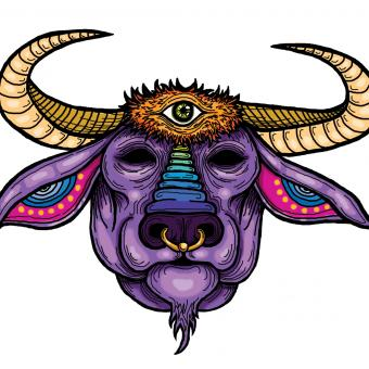 A multi-colored Buffalo King, with blank eyes, a piercing third eye, stately curved horns, ringlet tattooed inner ears, and a septum piercing