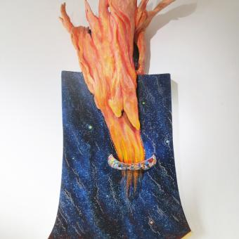 sculpture, collage, painting, mixed media