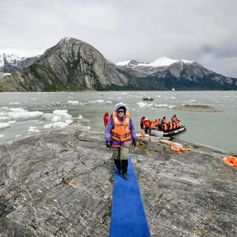 Here is a traveler coming ashore at the Pia Glacier. It is located in the Beagle Channel.