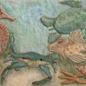 sea life bas relief